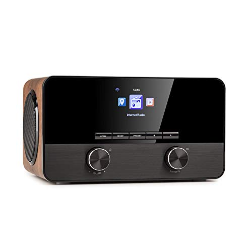 "auna Connect 100 SE - Internetradio, Mediaplayer, Bluetooth, WLAN: Netzwerkplayer, App-Control, 2,4"" TFT-Farbdisplay, USB-Port, AUX-In, Line-Out, UKW-Radio, walnuss"