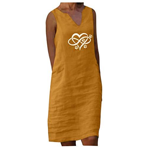 SolaXii Vestido de tirantes para mujer, vestido midi de verano, línea A, escote en V, vestido informal, vestido de verano, elegante, vestido de blusa, vestido de ocio, vestido suelto amarillo XXL