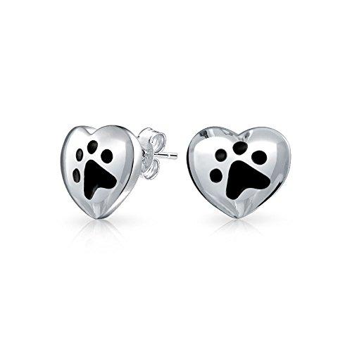 Esmalte Negro Perros Gatos Cachorros Gatitos Amante Animales Huellasforma Corazón Plata Esterlina 925 Pendiente Boton S
