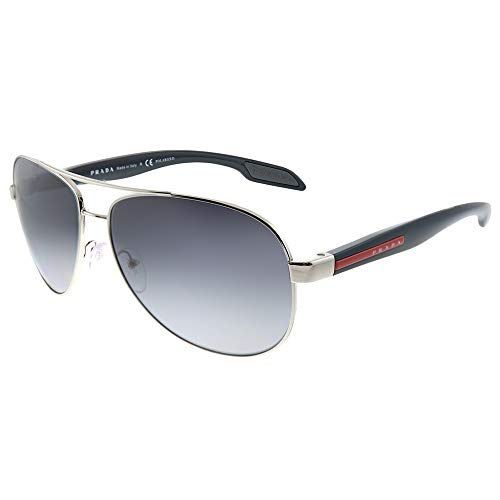 Prada Linea Rossa Lifestyle PS 53PS 1BC5W1 Steel Metal Aviator Sunglasses Grey Gradient Polarized Lens