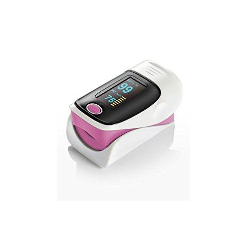 El oxímetro de pulso con pantalla color (rosa)