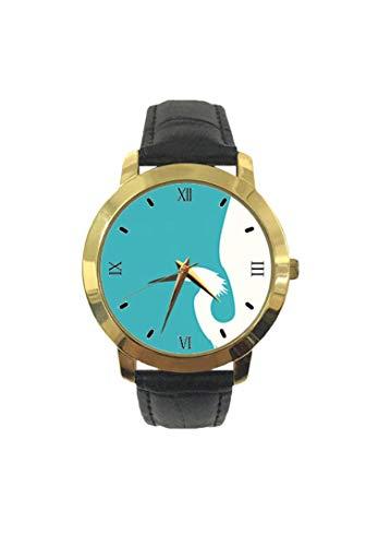 Reloj de Pulsera de Cuarzo para Mujer, con alas Abiertas y Correa de Cuero