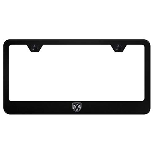 Dodge Ram License Plate Frame Laser Etched Stainless Steel Standard Black Powder Coat