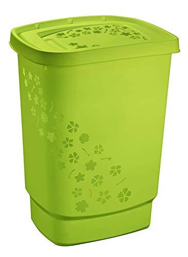 Rotho Flowers Wäschesammler 55l mit Deckel, Kunststoff (PP) BPA-frei, grün, 55l (44,7 x 34,7 x 60,5 cm)