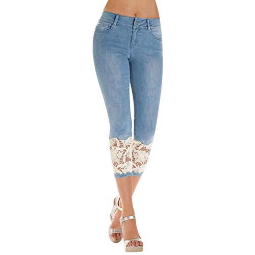 Xmiral Hose Damen Caprihose Reißverschluss Knopf Hauteng Spitze Patchwork Denim Jeans Bleistifthosen Mode Wilde Persönlichkeit Hosen(Blau,XL)