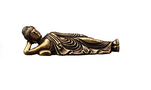 DMtse Chinese Feng Shui Brass Mini Reclining Buddha Decor Statue Figurines Sculpture Collectibles Small Buddha Attractive & Serene