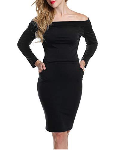 Bricnat Damen Kleid Etuikleid Langarm Schulterfrei Bleistiftkleid Einfarbig mit Taschen Festlich Cocktail Abendkleid Sexy Paket Hüfte Elegant Wickelkleid Schwarz