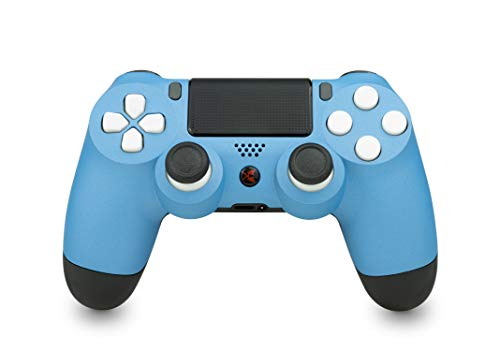 KING CONTROLLER® PS4 Controller mit Custom Design (blau, weiß) - DualShock 4 - PlayStation 4 Pro Slim - Wireless PS4-Controller
