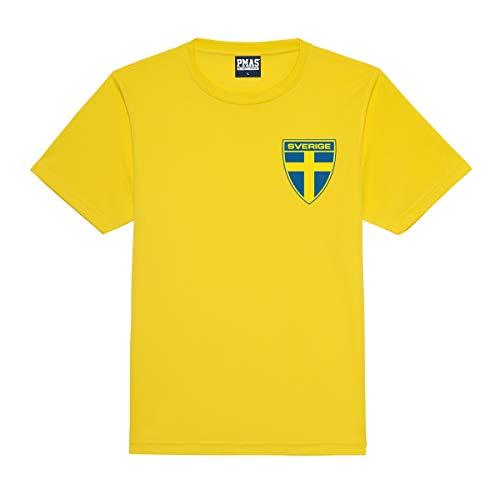 Print Me A Shirt Camiseta de fútbol Personalizados Suecia suecos Style Primera equipacíon para niños