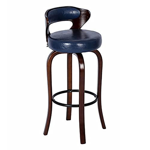Sgabelli da bar retrò Sgabelli Brown Sedie Cornici per Casa caffè Cafe Breakfast Bar Sedia da Bar, con Cuscino Morbido da 38 Cm, Schienale e Poggiapiedi Metallo Nero (Size:60 cm,Color:Blu)