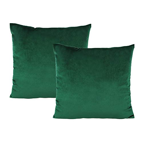 VAKADO Dark Green Green Velvet Pillow Cushion Covers Decorative Christmas Emerald Cushion Cases Cozy Soft Solid Square Home Decor for Car Couch Sofa Bedroom Office 18