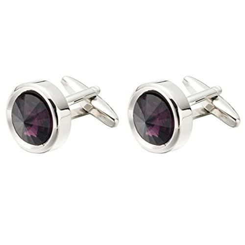 Hbao Gemelos Redondos de Cristal púrpura, Camisa de Mujer de Negocios, puños de Camisa Francesa para Hombre, Personalidad Elegante