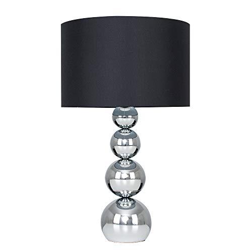 MiniSun - Lampada da tavolo cromata e grande, touch stile, palline impilate con paralume nero di seta del faux