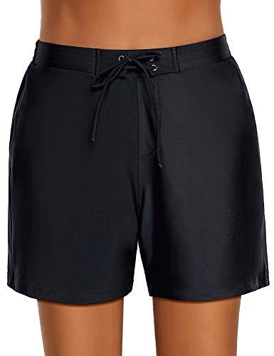 Roskiky Damen Boardshorts, Vorderseite zum Schnüren, mit Seitentaschen Schwarz Größe S