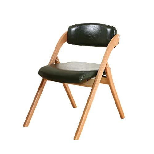 TD26 Chaise pliante en bois massif PU cuir hêtre noir, coussin en éponge haute élasticité