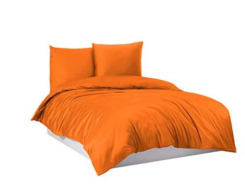 Bettwäsche Bettgarnitur Bettbezug 100% Baumwolle 135x200 155x220 200x200, Farbe Bettwäsche:Orange, Größe:155 x 220 cm