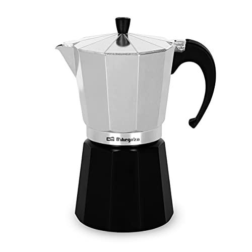 Orbegozo KFM 930 – Cafetera italiana de aluminio, 9 tazas de capacidad, negro y silver