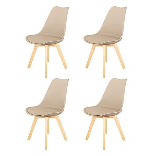 Sedie da pranzo moderne di metà secolo Set di 4 sedie da cucina imbottite color kaki con gamba della sedia in materiale massello di faggio per soggiorno camera da letto