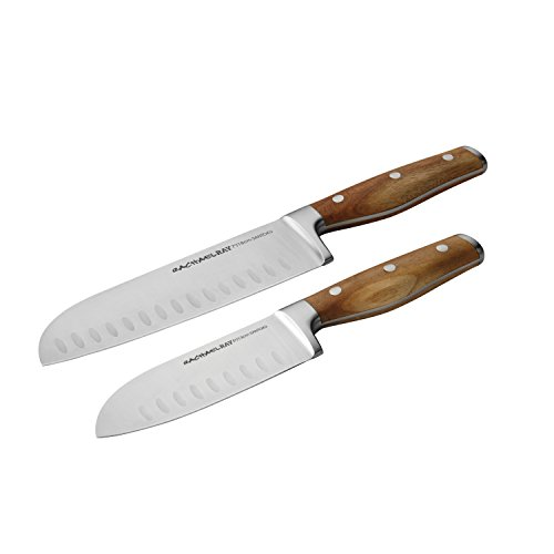 Rachael Ray Cucina Cutlery 2-Piece Japanese Stainless Steel Santoku Knife Set with Acacia Handles - ,Acacia Wood