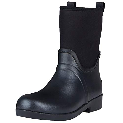 UNICARE Womens Rubber Rain Boots Classic Mid Waterproof Neoprene Work Boots Outdoor Nonslip Hunting Boots Handmade (Black,Size 9)