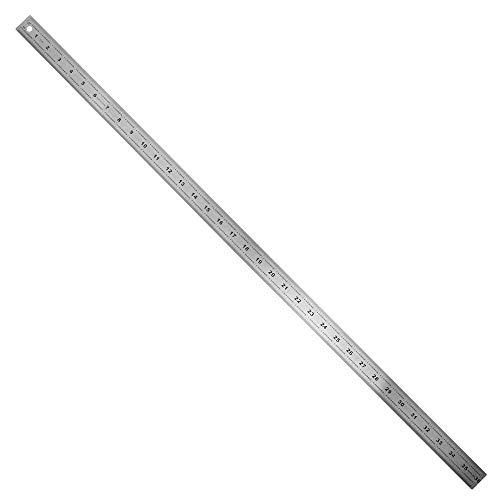 36' Stainless Steel Ruler with Non-Skid Cork Backing: 32 & 64 divisions per inch