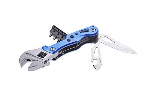 Huntington Multifunktionswerkzeug Verstellbarer Schraubenschlüssel & Klinge, 10 Funktionen, Farbe: Blau, Mod. MS004-02