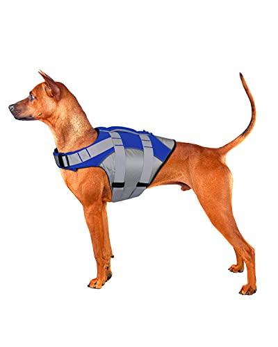Dog Life Jacket with Superior Buoyancy & Rescue Handle - Reflective Dog Life Vest Durable...