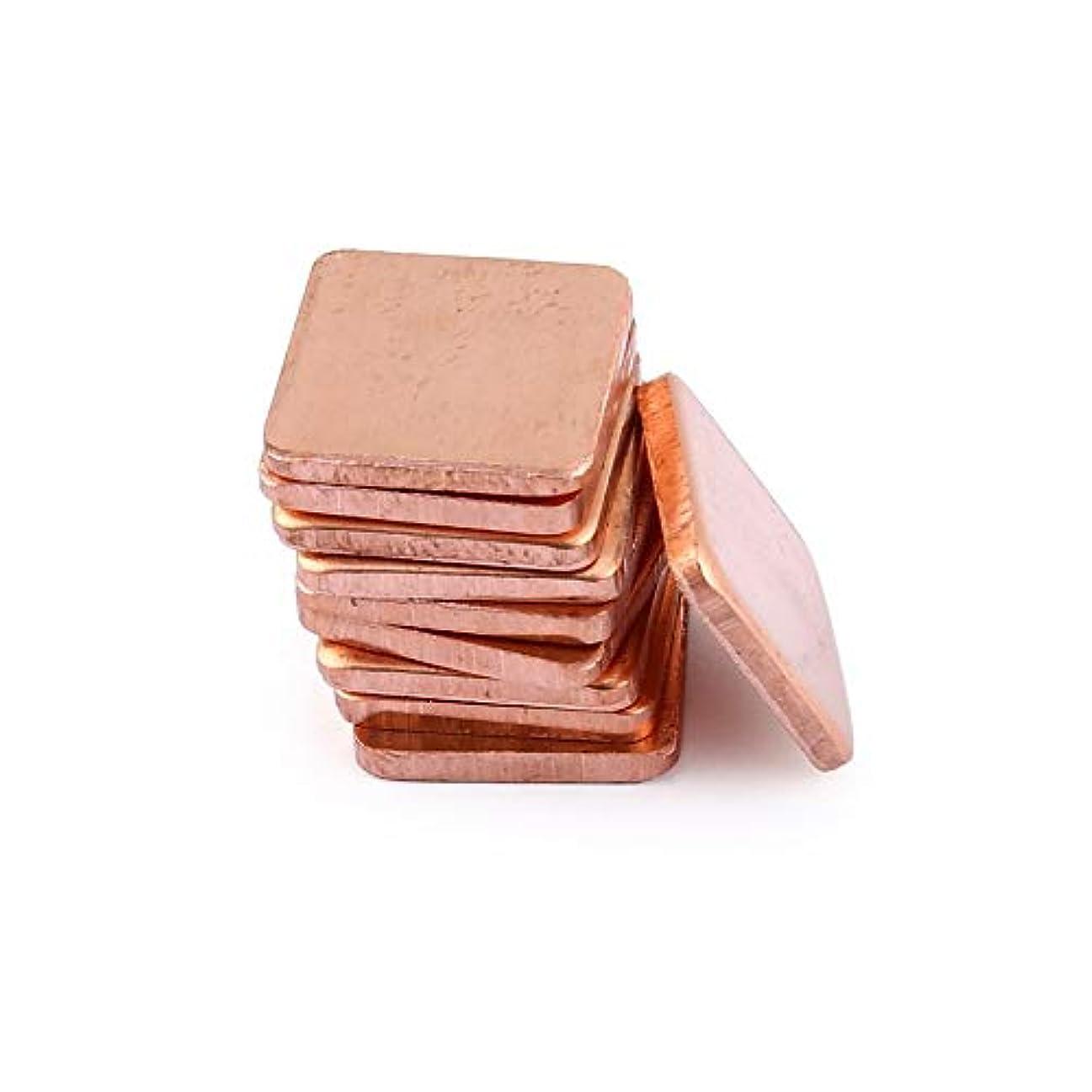 シャベル毒性忙しい10ピース純銅真鍮ヒートシンクシムサーマルパッドバリア用ラップトップグラフィックカード15×15ミリメートル高速熱放散