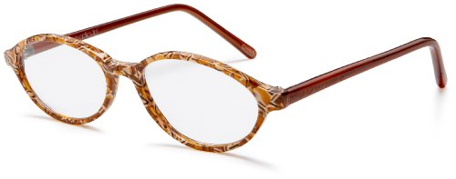 Andrea Jovine Women's AR576 Oval Sunglasses, Brown Frame/Clear Lens, One Size