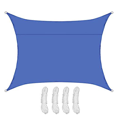 3 X 5m Toldo Vela de Sombra Rectangular, Protección Rayos UV Impermeable Resistente Poliéster Toldo Vela para Patio Terraza Exteriores Jardín, Azul(Size:2X3M/6.5X9.8FT)