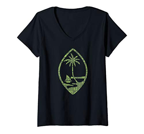 Womens Guam Seal With A Cool Polynesian design V-Neck T-Shirt