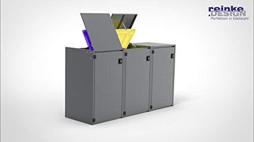 Reinkedesign Mülltonnenbox Boxxi mit Pultdach aus verzinktem Stahl in Anthrazit RAL 7016 als Bausatz (3X 240l)