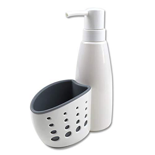Dosificador De Jabon Recargable Set Organizador Cocina Dispensador De Jabon con Soporte para Esponja Dispensador De Detergente Cocina Lavavajillas Esponja De Almacenamiento Estante