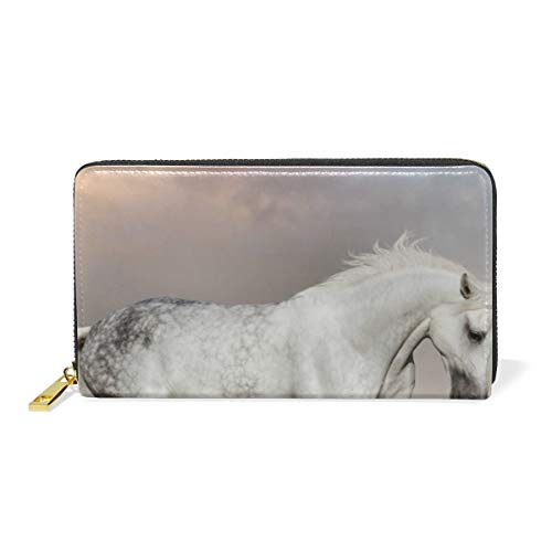 XiangHeFu dames portemonnee wit Arabian Horse clutch Bag Zipper Leather