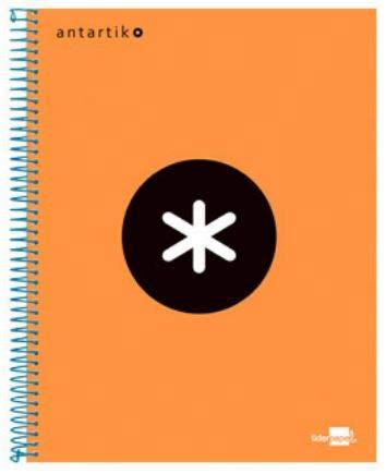 Liderpapel Cuaderno Espiral A4 Micro Antartik Tapa Forrada 120H 100 Gr Cuadro 5 Mm 5 Bandas 4 Taladros Color Naranja
