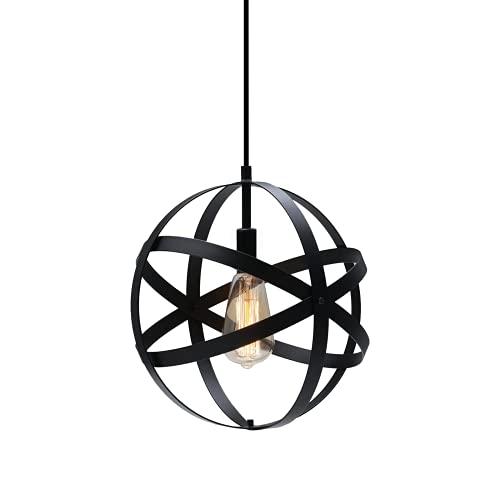 KingSo Rustic Industrial Metal Hanging Globe Spherical Pendant 1-Light Chandelier