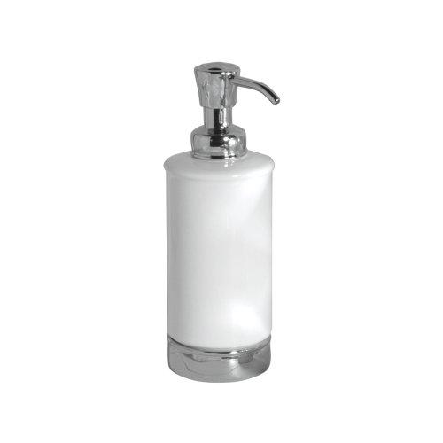 iDesign Seifenspender, runder Lotionspender aus Keramik und Metall, nachfüllbarer Flüssigseifenspender für 325 ml, weiß und silberfarben