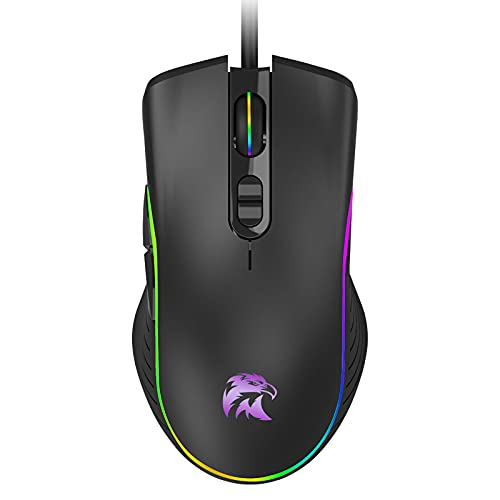 Corded Mouse Computer Wired Mouse-Optical Wired Mouse LED 6400DPI 6 Adjustable Levels-7 Button Ergonomic Backlit USB Computer Mice-Home and Office Mouse for Laptop PC Desktop Notebook