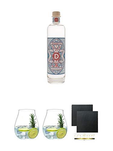 Dodds London Dry Gin 0,5 Liter + Gin Tonic Glas - 5414/67 + Gin Tonic Glas - 5414/67 + Schiefer Glasuntersetzer eckig ca. 9,5 cm Ø 2 Stück