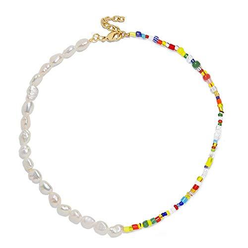 yuge Collar de joyería gota de agua dulce barroco natural real mini bebé pequeño collar de cadena de perlas 6
