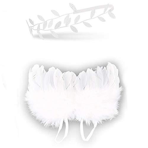 AMACOAM Accesorios Fotografia Bebe Recien Nacido Alas de Angel Bebe Blancas con Diadema Plata Set Disfraz Bebe Recien Nacido Plumas Alas Angel Bebe Universal Accesorio de Fotografía