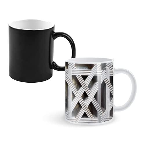 Taza que cambia de color Taza de café mágica,wooden door in mosque of cordoba spain,tazas grandes personalizadas Taza de decoloración 11 onzas
