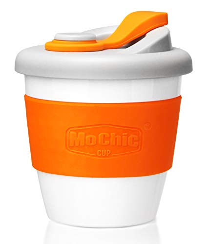 MOCHIC CUP Reusable Coffee Cup with Lid Portable Travel Mug with Non-Slip Sleeve BPA Free Dishwasher and Microwave Safe Friendly Coffee Mug (Orange,8oz)
