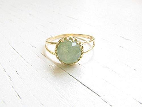 Natürlicher Jade Ring Grün Damen Gold Silber 925 Schmuk