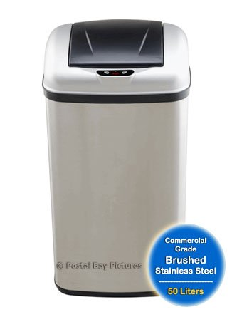 Nine Stars DZT-50-7 13.2 Gallon Stainless Steel Infrared Trash Can