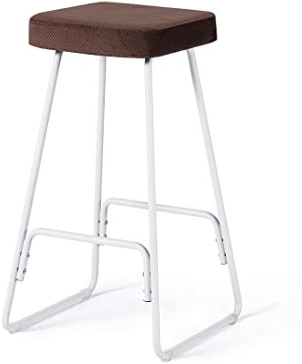 Barstools - White Iron Frame Bar Stool Cafe Solid Wood Stool Without Backrest Square Bar Chair 0430A (color   Brown)
