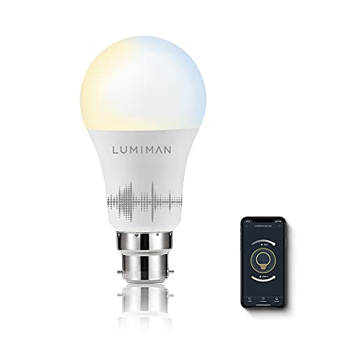 Smart Light Bulb B22, Warm White to Cool White Alexa Bulbs, Dimmable 2700K-6500K, Works with Alexa and Google Assistant, 7W, 800LM, Remote Control by Smart Phone, 2.4GHZ Only