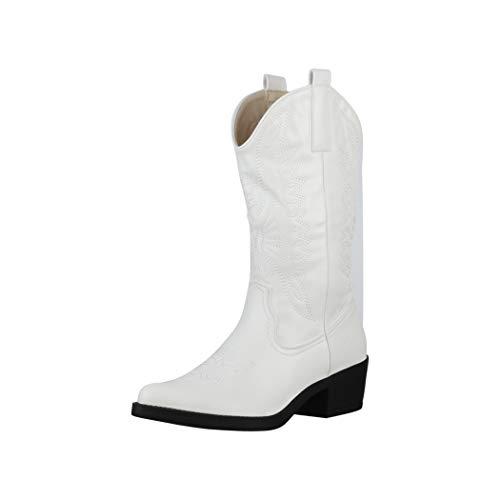 Elara Damen Cowboy Stiefel Biker Boots Chunkyrayan 301-A32PU White-39