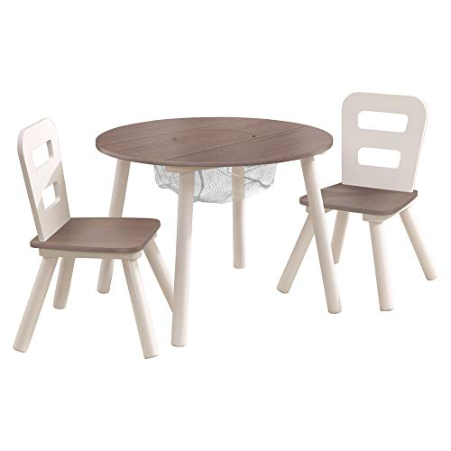 KidKraft Round Storage Table & 2 Chair Set - Gray (20025)