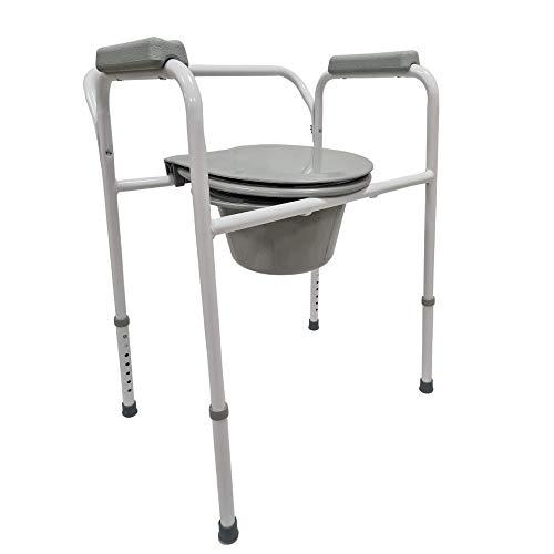 Sedia wc per anziani-Sedia comoda-Gabinetto portatile-Water disabili-Vaso da notte-Acciaio verniciato bianco-Seduta antiscivolo portata 150 chili